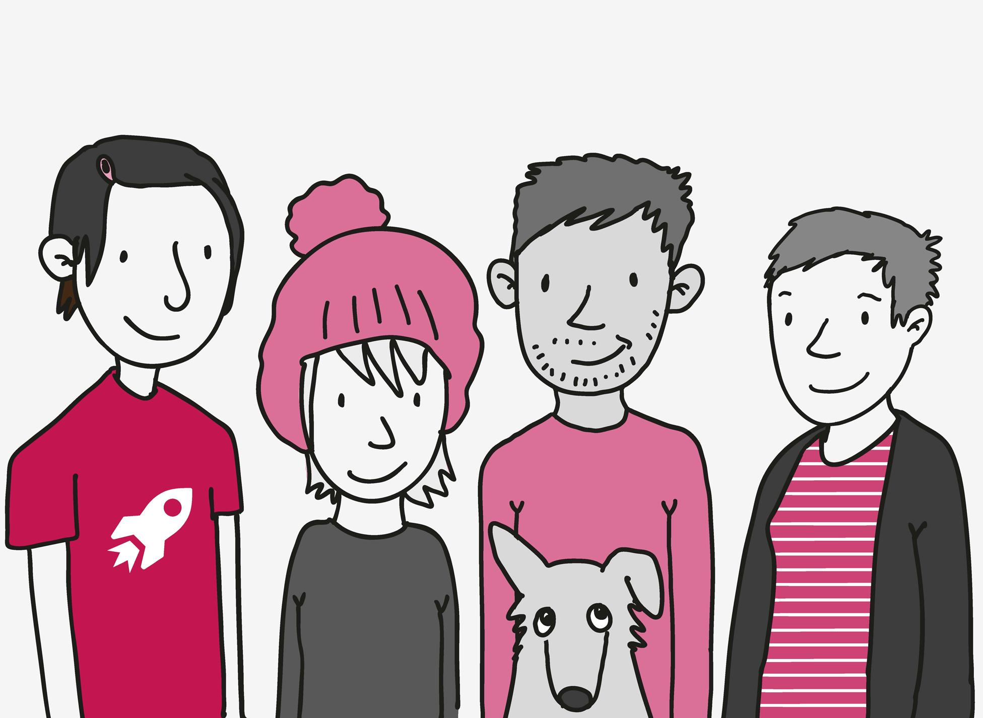 4 junge Menschen stehen lächelnd nebeneinander. Ein kleiner Hund mit Knick-Ohr schielt von unten ins Bild.