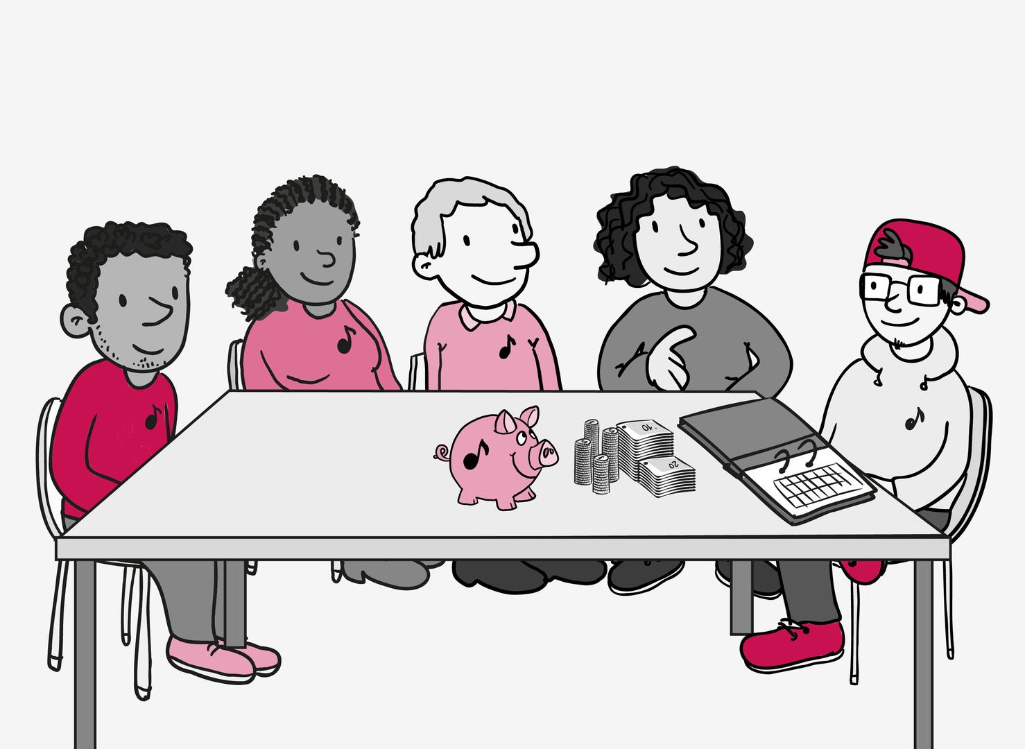 5 Personen mit kleinen Noten-Symbolen auf den Pullovern sitzen an einem Tisch. Der junge Mann ganz rechts hat einen aufgeklappten Akten-Ordner, ein Sparschwein und gestapeltes Bargeld vor sich liegen.