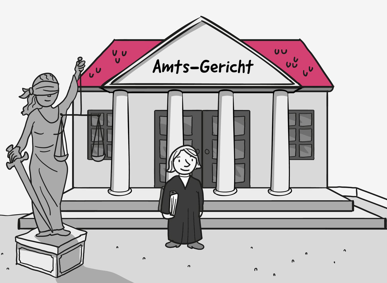 Eine Frau in einer schwarzen Robe steht vor einem alten Gebäude mit einem Säulen-Eingang. Der Dach-Giebel vom Gebäude trägt die Aufschrift: Amts-Gericht. Auf dem Vorplatz steht eine Statue aus Stein: Die Figur Justizia mit dem Schwert, der Waage und verbundenen Augen.
