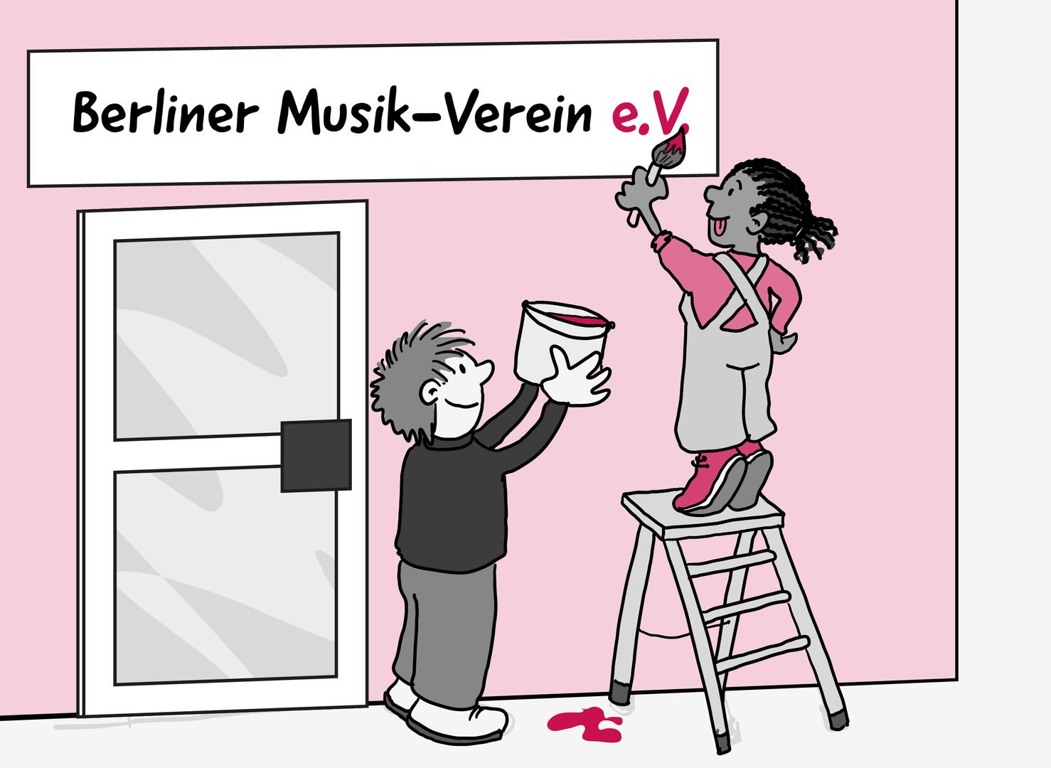 2 Personen arbeiten an einem großen Schild an der Außenwand von einem Haus. Die Person links hält einen Farbeimer in die Höhe. Die Person rechts streckt sich auf einer Leiter zum Schild. Sie vollendet mit dem Pinsel gerade den letzten pinken Punkt. Auf dem Schild steht in schwarzer Farbe: Berliner Musik-Verein. In pink steht dahinter: e.V.