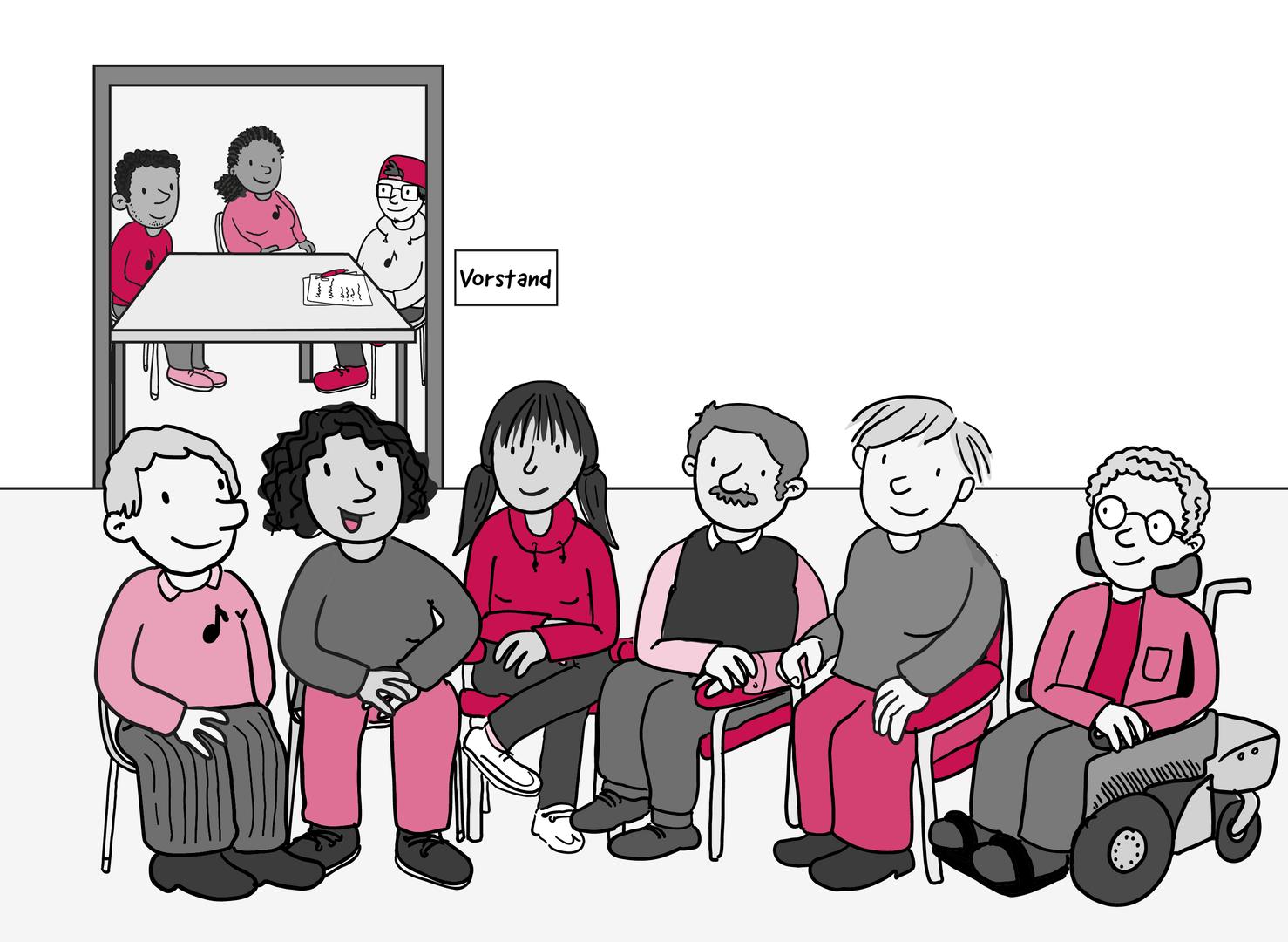 In einem Raum sitzen 6 Personen und unterhalten sich. Hinter ihnen ist ein weiterer kleinerer Raum. Darin sitzen 3 Menschen mit Papier und Stift an einem Tisch. Auf dem Tür-Schild steht: Vorstand