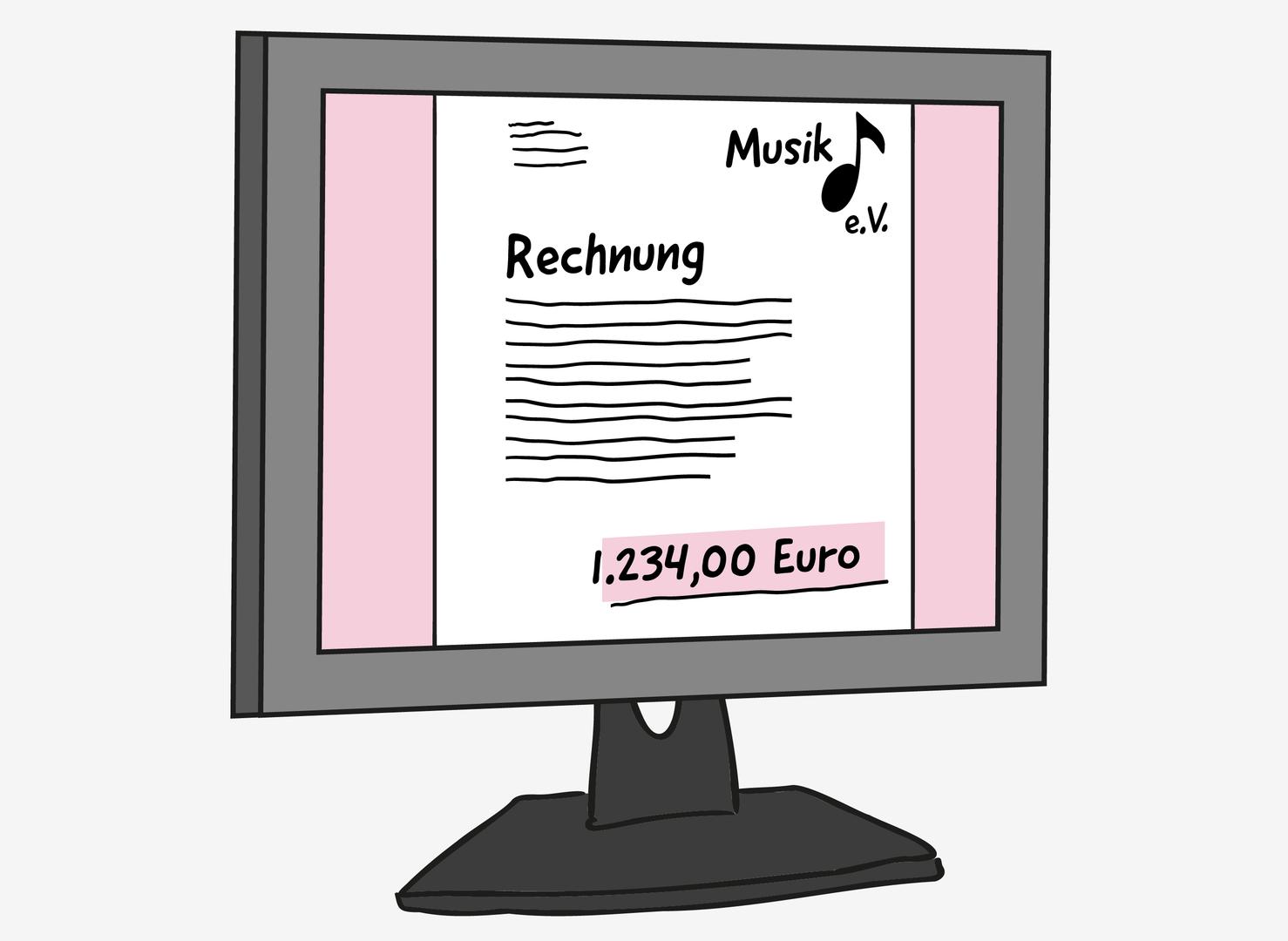 Auf einem Computer-Bildschirm ist ein Dokument abgebildet. Darauf steht groß: Rechnung. Darunter ist winziger Text. Oben links im Dokument steht eine winzige Anschrift. Oben rechts steht: Musik e.V. und ein Noten-Symbol. Am unteren Rand steht hervorgehoben: 1.234,00 Euro.