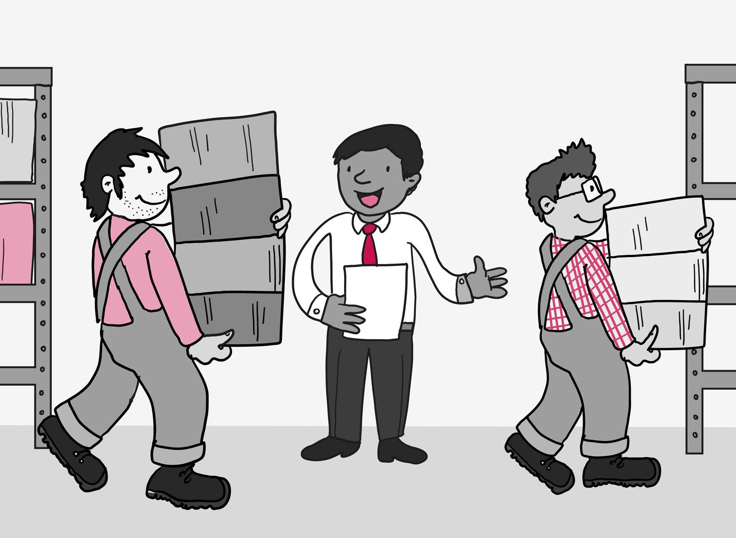 Zwei gut gelaunte Arbeiter mit Latzhosen tragen Kisten zu einem Regal. Im Hintergrund weist ein Mann mit Hemd und Schlips den Arbeitern den Weg.