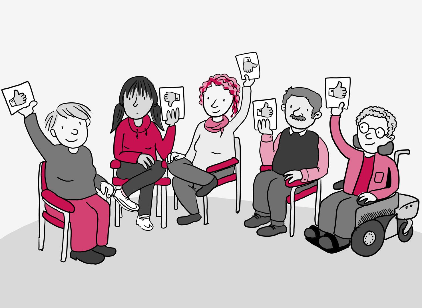 5 Menschen sitzen in einem Halbkreis. Sie heben Abstimmungs-Karten mit Daumen-Symbolen in die Höhe. 3 Karten zeigen den Daumen nach oben, eine Karte zeigt den Daumen nach unten und eine Karte zeigt den Daumen waagerecht.