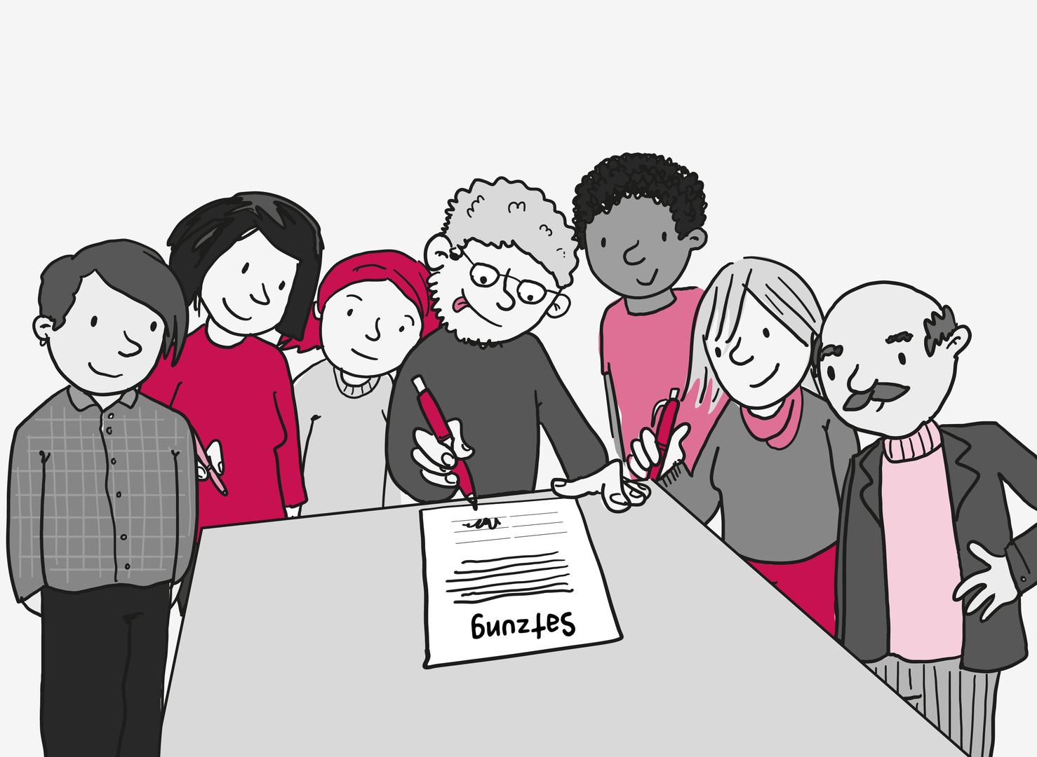 7 Personen drängen sich dicht um einen Tisch. Einige haben Stifte in der Hand. Alle sind bereit dafür, das Dokument auf dem Tisch zu unterschreiben. Auf dem Dokument steht groß: Satzung